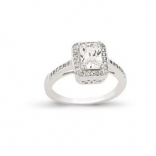 Ladies Silver | Cluster Ring | Rectangular Shaped